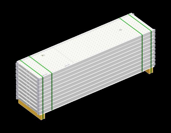 Paket UNIFIX Durchstieg aus Aluminium 2,50 x 0,64 m, mit Leiter, Belag WBQ, 10 Stück