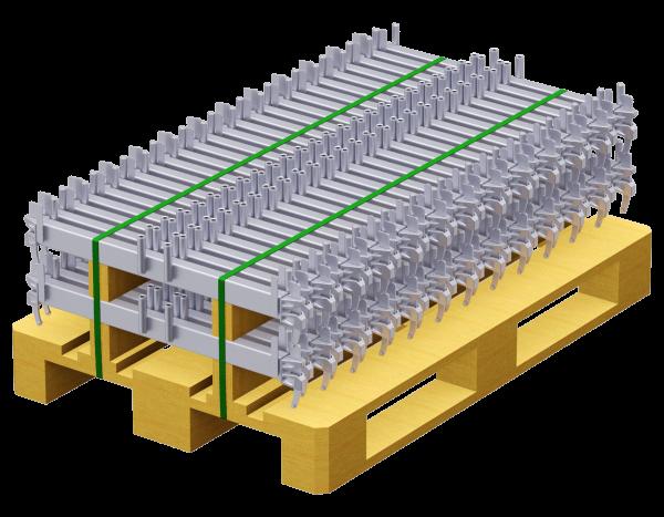 Paket ALFIX MODUL METRIC Belagriegel aus Stahl 0,74 m 2-bohlig, vz, 50 Stück