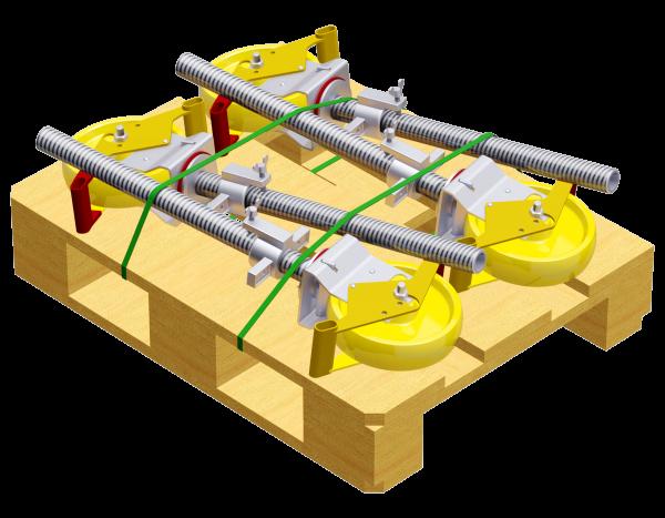 Paket Lenkrollen 10 kN aus Stahl 0,50 m, ø 200 mm, 4 Stück