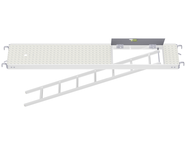 ALFIX MODUL METRIC solid aluminium access deck with tube fixture and integrated storey ladder (tread