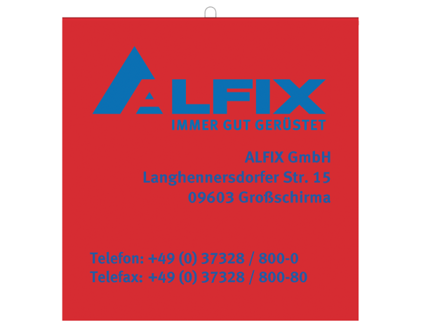 Long load safety flag 30 x 30 mm with wire rod, RED with ALFIX logo