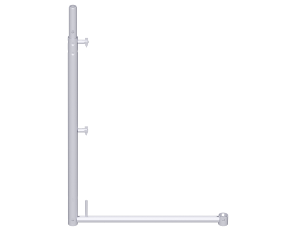 UNIFIX guardrail post 1.00 x 0.74 m, steel, galvanised, with tube connector