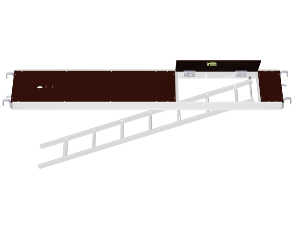 ALFIX MODUL METRIC aluminium access deck with tube fixture and integrated storey ladder (film-coated