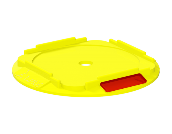 Protective base for base jack, polypropylene, circular, 210 x 220 x 20 mm, yellow