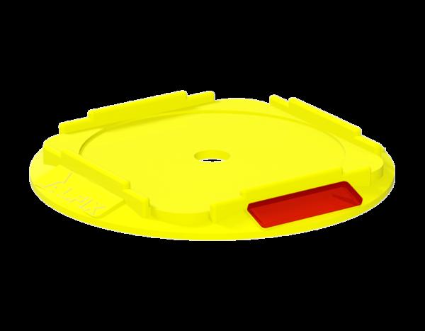 Universalunterlage aus Kunststoff (PP), rund, für Gewindefußplatten, 210 x 220 x 20 mm, gelb·