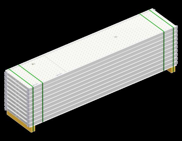 Paket UNIFIX Durchstieg aus Aluminium 3,00 x 0,64 m, mit Leiter, Belag WBQ, 10 Stück