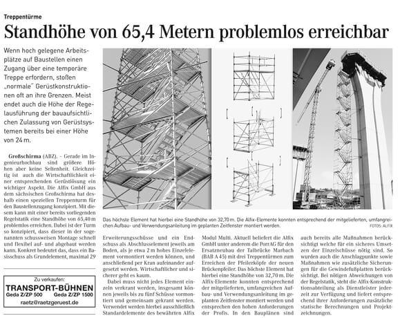 Standhöhe von 65,4 Metern problemlos erreichbar