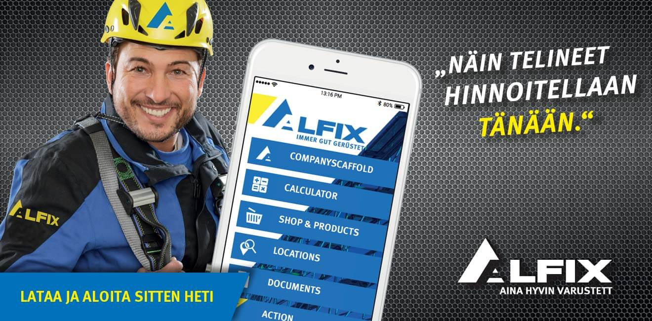 Flyer scaffolding calculator by Alfix