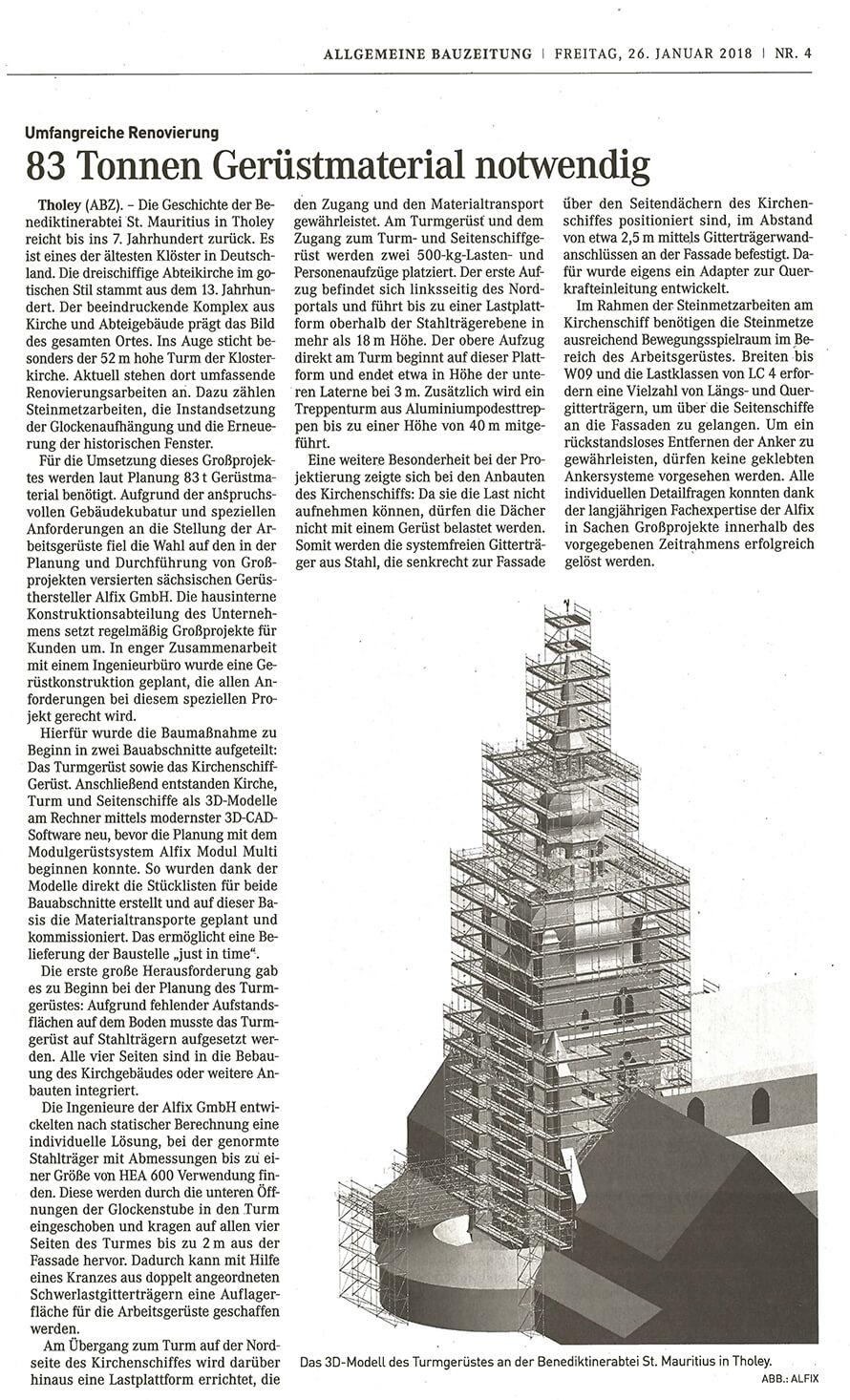 ALFIX Kirchenprojekt Tholey- Zeitungsartikel