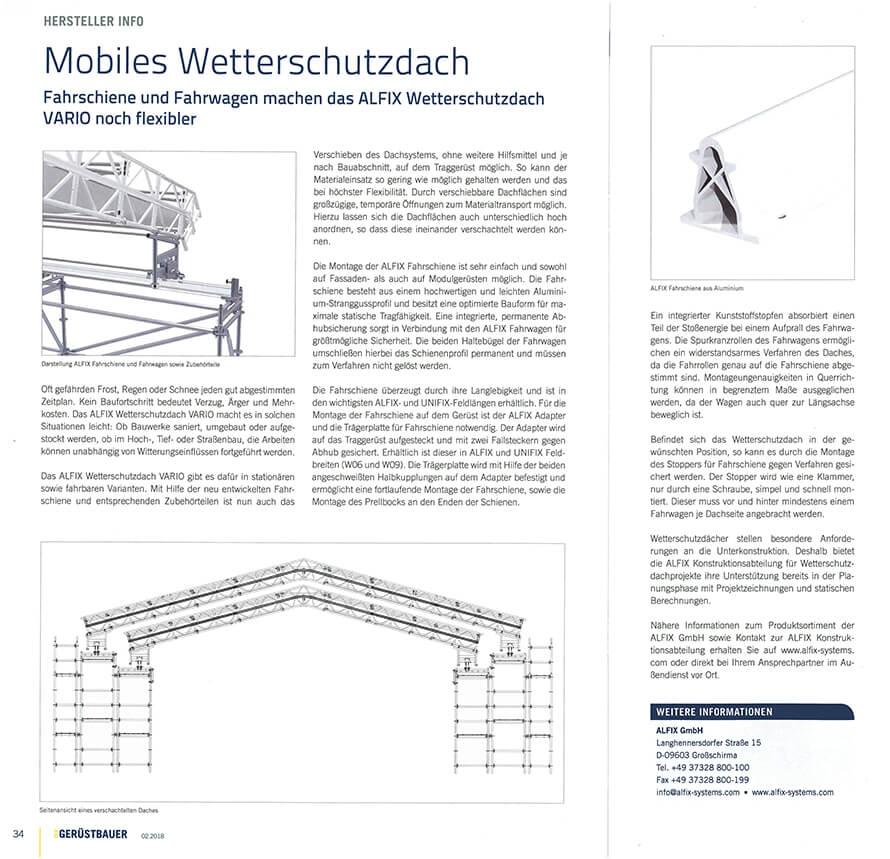 ALFIX Mobiles Wetterschutzdach_Zeitungsartikel