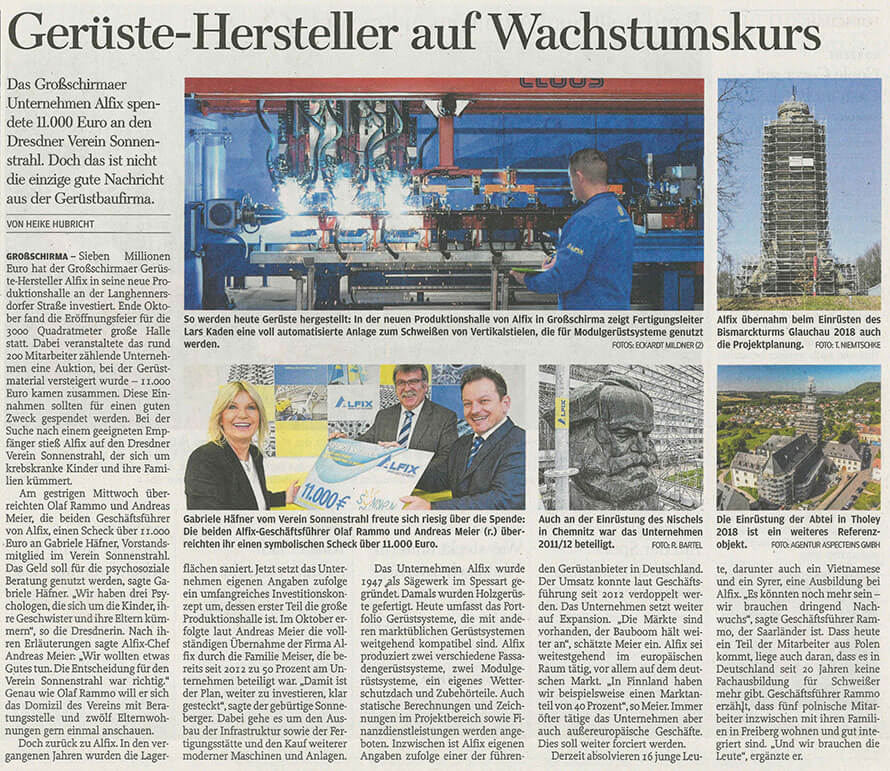 Firma-ALFIX_Spende-Sonnenstrahl_Zeitungsartikel
